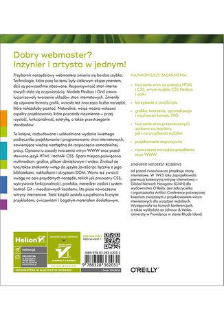 Tył okładki książki/ebooka Projektowanie stron internetowych. Przewodnik dla początkujących webmasterów po HTML5, CSS3 i grafice. Wydanie V