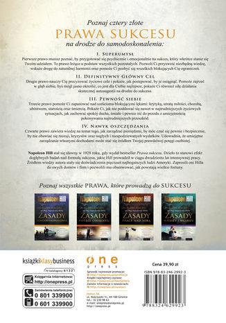 Tył okładki książki/ebooka Prawa sukcesu według Napoleona Hilla. Zasady samodoskonalenia