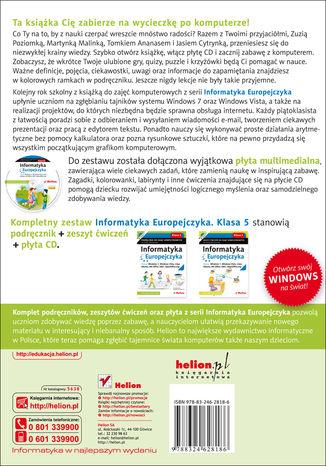 Tył okładki książki/ebooka Informatyka Europejczyka. Podręcznik do zajęć komputerowych dla szkoły podstawowej, kl. 5. Edycja: Windows 7, Windows Vista, Linux Ubuntu, MS Office 2007, OpenOffice.org (Wydanie II)