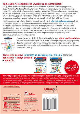 Tył okładki książki/ebooka Informatyka Europejczyka. Podręcznik do zajęć komputerowych dla szkoły podstawowej, kl. 5. Edycja: Windows XP, Linux Ubuntu, MS Office 2003, OpenOffice.org (Wydanie II)