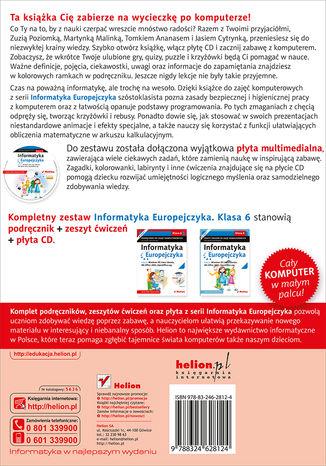 Tył okładki książki/ebooka Informatyka Europejczyka. Podręcznik do zajęć komputerowych dla szkoły podstawowej, kl. 6. Edycja: Windows XP, Linux Ubuntu, MS Office 2003, OpenOffice.org (Wydanie II)