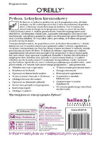 Tył okładki książki/ebooka Python. Leksykon kieszonkowy. Wydanie IV