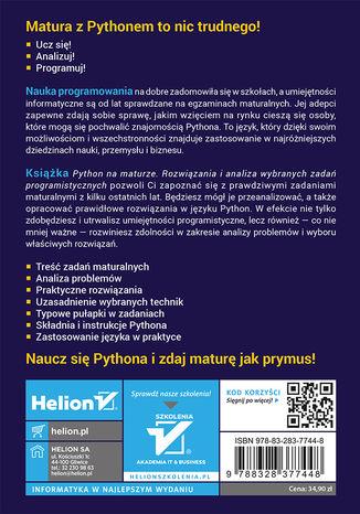 Tył okładki książki/ebooka Python na maturze. Rozwiązania i analiza wybranych zadań programistycznych
