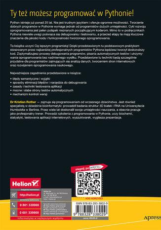 Tył okładki książki/ebooka Python dla profesjonalistów. Debugowanie, testowanie i utrzymywanie kodu