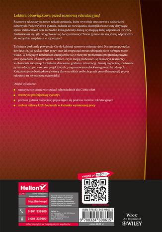 Tył okładki książki/ebooka Programista szuka pracy. Kulisy rekrutacji w branży IT. Wydanie III