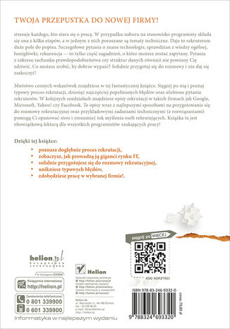 Tył okładki książki/ebooka Rozmowa rekrutacyjna dla programistów. Przewodnik do sukcesu