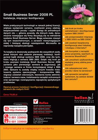 Tył okładki książki/ebooka Small Business Server 2008 PL. Instalacja, migracja i konfiguracja