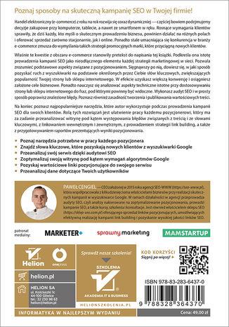 Tył okładki książki/ebooka SEO jako element strategii marketingowej Twojej firmy