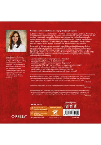 Tył okładki książki/ebooka Slajd:ologia. Nauka i sztuka tworzenia genialnych prezentacji