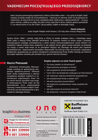 Tył okładki książki/ebooka Sprytny biznes. Załóż i rozwijaj małą firmę w Polsce