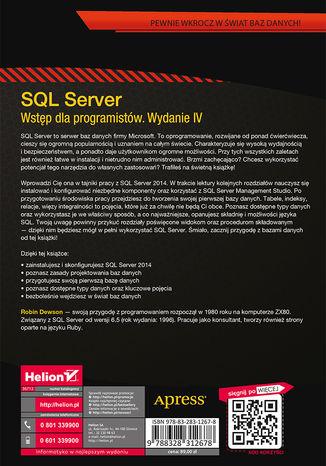 Tył okładki książki/ebooka SQL Server. Wstęp dla programistów. Wydanie IV