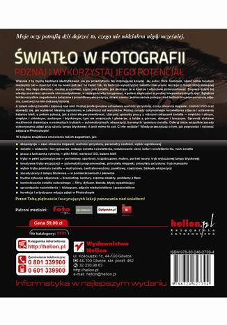 Tył okładki książki/ebooka Światło w fotografii. Poznaj i wykorzystaj jego potencjał