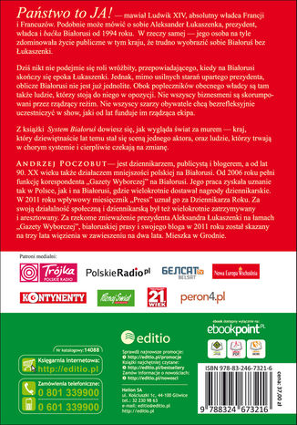 Tył okładki książki/ebooka System Białoruś
