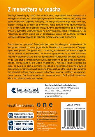 Tył okładki książki/ebooka Szef w roli coacha. Jak coaching on the job pomaga pracownikom w samodzielnym znajdowaniu rozwiązań