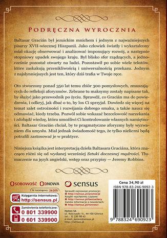 Tył okładki książki/ebooka Sztuka roztropności. Podręczna wyrocznia