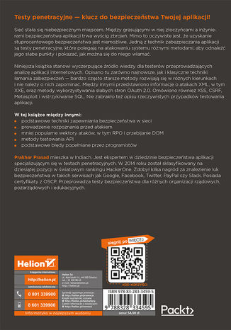 Tył okładki książki/ebooka Testy penetracyjne nowoczesnych serwisów. Kompendium inżynierów bezpieczeństwa