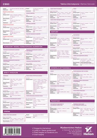 Tył okładki książki/ebooka Tablice informatyczne. CSS3. Wydanie II