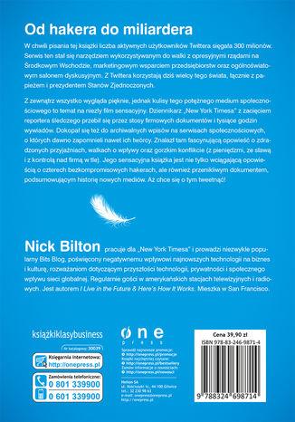 Tył okładki książki/ebooka Twitter. Prawdziwa historia o bogactwie, władzy, przyjaźni i zdradzie