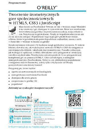Tył okładki książki/ebooka Tworzenie izometrycznych gier społecznościowych w HTML5, CSS3 i JavaScript