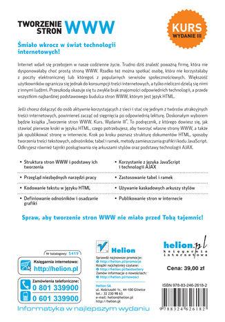 Tył okładki książki/ebooka Tworzenie stron WWW. Kurs. Wydanie III