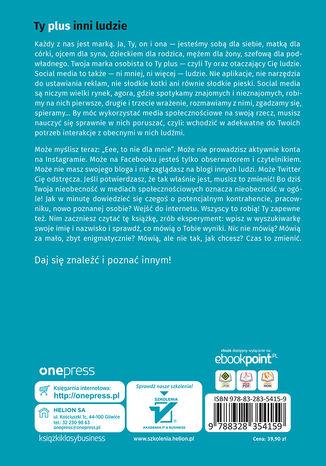 Tył okładki książki/ebooka Ty w social mediach. Podręcznik budowania marki osobistej dla każdego. Wydanie II poszerzone