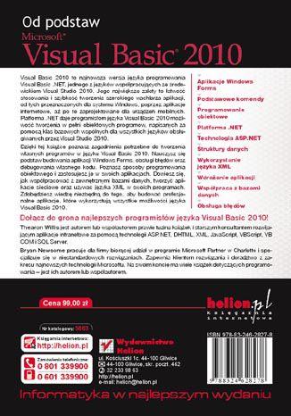 Tył okładki książki/ebooka Visual Basic 2010. Od podstaw