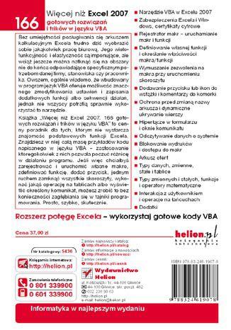 Tył okładki książki/ebooka Więcej niż Excel 2007. 166 gotowych rozwiązań i trików w języku VBA