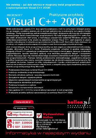 Tył okładki książki/ebooka Microsoft Visual C++ 2008. Praktyczne przykłady