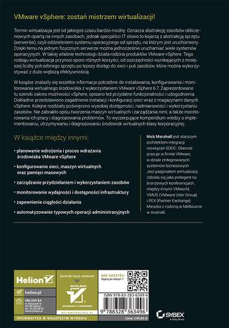 Tył okładki książki/ebooka VMware vSphere 6.7 od podstaw