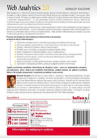 Tył okładki książki/ebooka Web Analytics 2.0. Świadome rozwijanie witryn internetowych