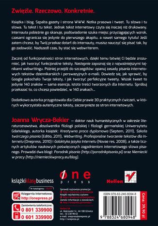 Tył okładki książki/ebooka Webwriting. Profesjonalne tworzenie tekstów dla Internetu. Wydanie II zaktualizowane i poszerzone