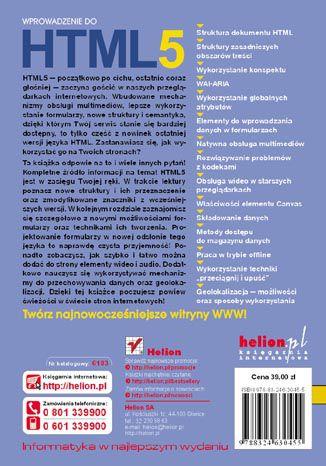 Tył okładki książki/ebooka Wprowadzenie do HTML5. Autorytety Informatyki