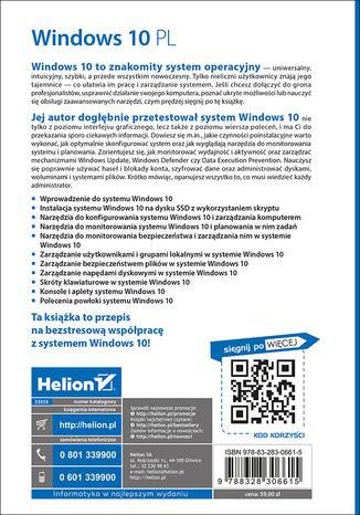 Tył okładki książki/ebooka Windows 10 PL. Optymalizacja i zaawansowane zarządzanie systemem