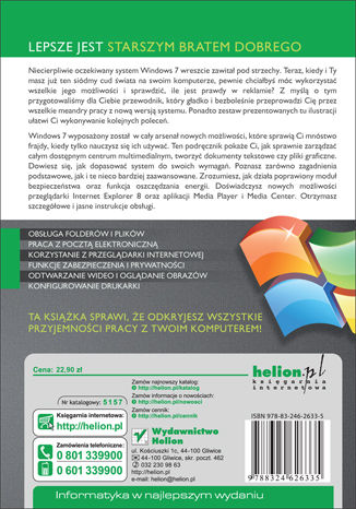 Tył okładki książki/ebooka Windows 7 PL. Ilustrowany przewodnik