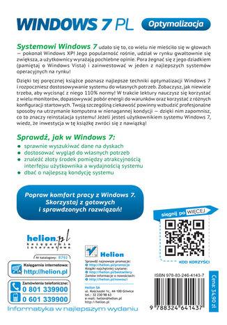 Tył okładki książki/ebooka Windows 7 PL. Optymalizacja