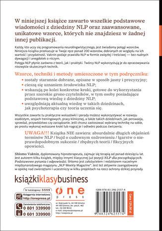 Tył okładki książki/ebooka Biblia NLP. 210 wzorców, metod i strategii programowania neurolingwistycznego