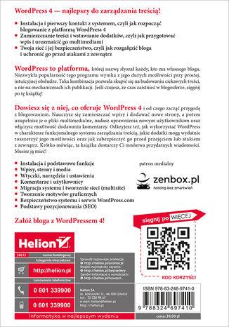Tył okładki książki/ebooka WordPress 4. Instalacja i zarządzanie