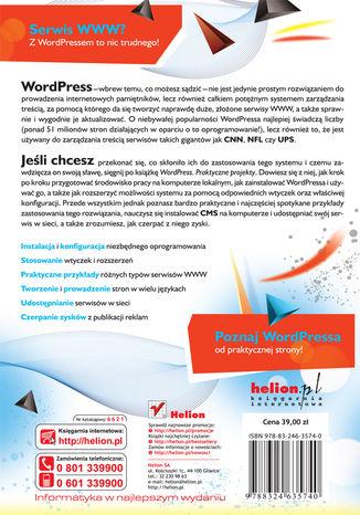 Tył okładki książki/ebooka WordPress. Praktyczne projekty