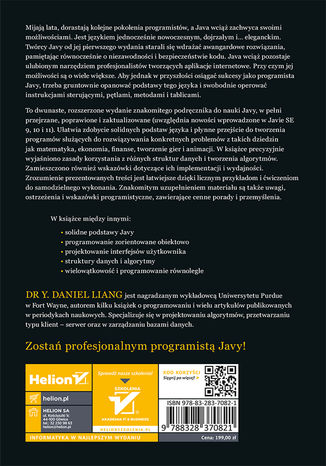 Tył okładki książki/ebooka Wprowadzenie do Javy. Programowanie i struktury danych. Wydanie XII
