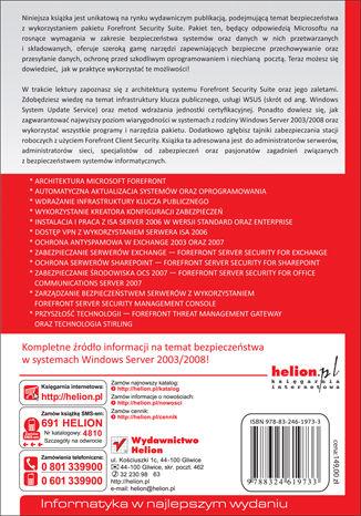 Tył okładki książki/ebooka Microsoft Windows Server 2003/2008. Bezpieczeństwo środowiska z wykorzystaniem Forefront Security