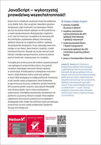 Tył okładki książki/ebooka Wszechstronny JavaScript. Technologie: GraphQL, React, React Native i Electron