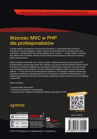 Tył okładki książki/ebooka Wzorzec MVC w PHP dla profesjonalistów