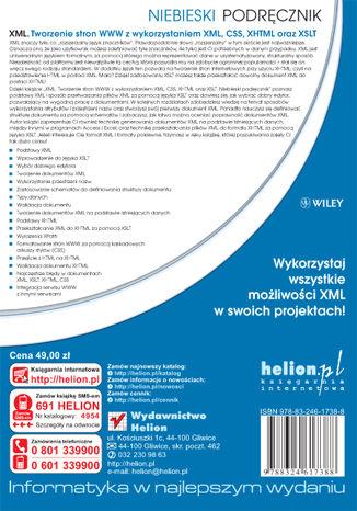 Tył okładki książki/ebooka XML. Tworzenie stron WWW z wykorzystaniem XML, CSS, XHTML oraz XSLT. Niebieski podręcznik