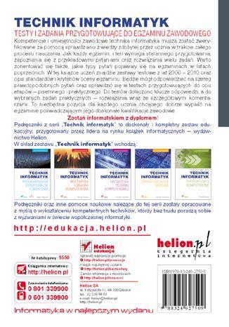 Tył okładki książki/ebooka Technik informatyk. Testy i zadania przygotowujące do egzaminu zawodowego