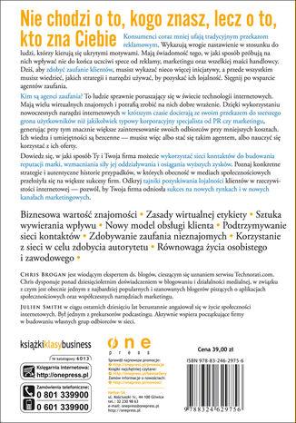 Tył okładki książki/ebooka Zaufanie 2.0. Jak wywierać wpływ, zdobyć lojalność klientów i kreować markę