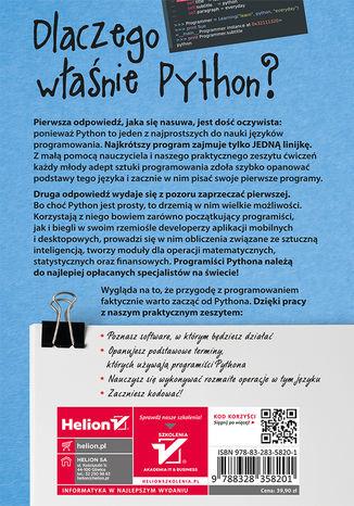 Tył okładki książki/ebooka Zacznij od Pythona. Pierwsze kroki w programowaniu