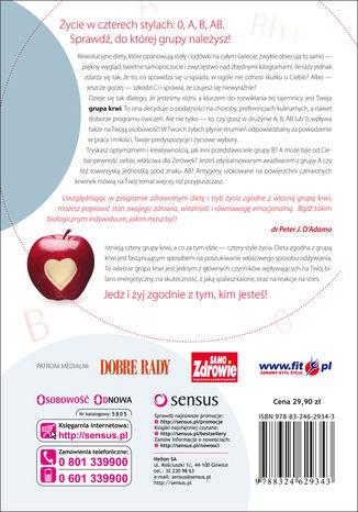Tył okładki książki/ebooka Zdrowie masz we krwi! Jak żyć w zgodzie z grupą krwi