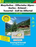 Mayrhofen, Zillertaler, Alpy. Mapa turystyczna