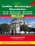 Serbia Czarnogóra Macedonia. Mapa samochodowa