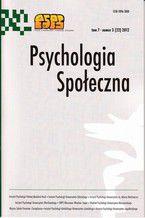 Psychologia Społeczna nr 3 (22) 2012